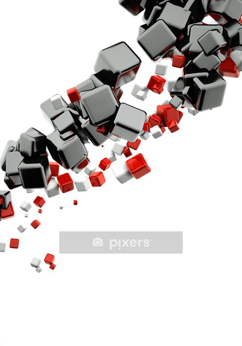 3d abstract background with glossy red and black cubes Wall Decal - Wall decals