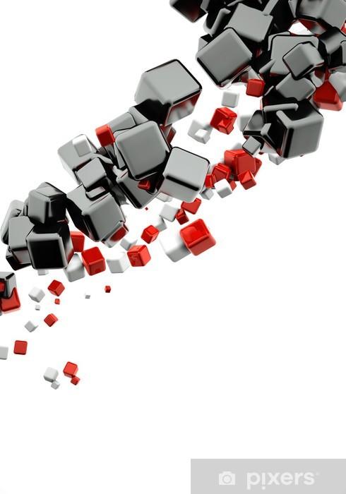 Nálepka Pixerstick 3d abstraktní pozadí s lesklé červené a černé kostky - Nálepka na stěny