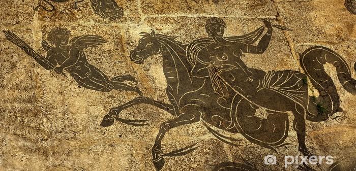 Papier peint vinyle Ancient Roman Baths Femme Cheval sol Cupidon Neptune - Villes européennes