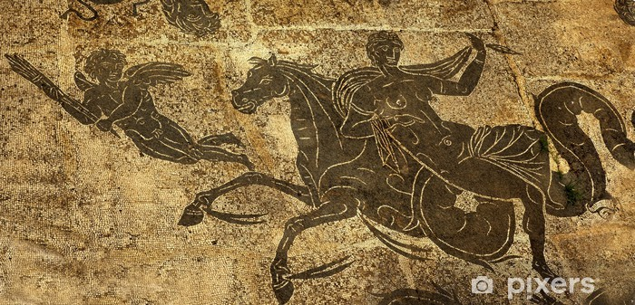 Ancient Roman Woman on Horse Cupid Floor Baths Neptune Vinyl Wall Mural - European Cities