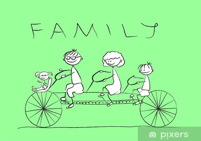Fotomural Estándar Dibujo del niño de una familia en una bicicleta, vector - Casa y jardín