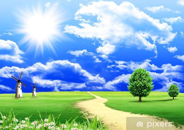 Naklejka Pixerstick Zielone drzewa i drogi wiejskiej i niebieski pochmurne niebo - Cuda natury