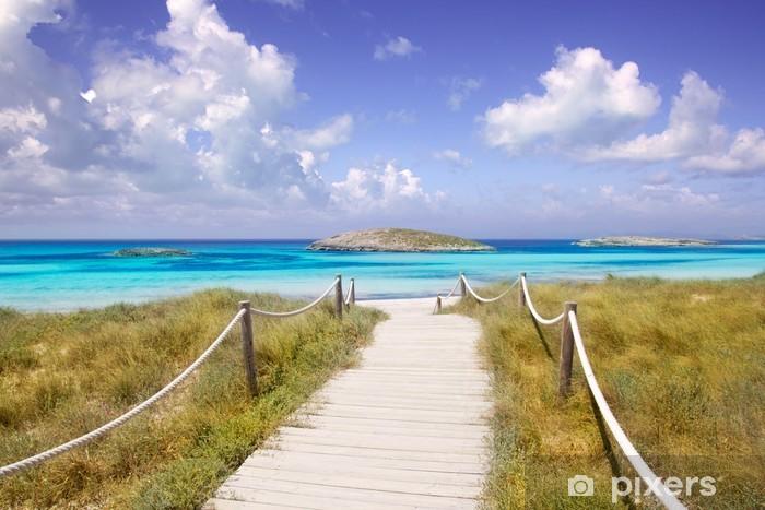 Vinyl Fotobehang Strand weg naar Illetas paradise beach Formentera - Thema's