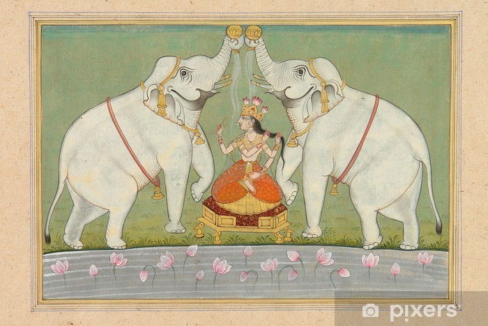 Painting Of Goddess Lakshmi Jaipur Rajasthan India Wall Mural Vinyl