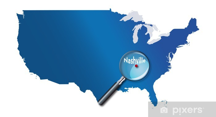 Nashville, Tennessee, États-Unis, USA - localisation - Towns of Vinyl Wall Mural - America