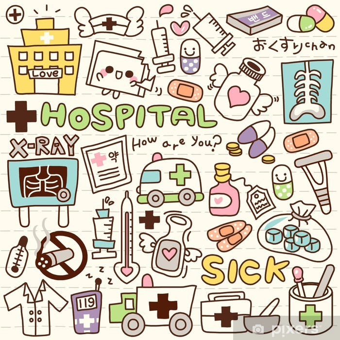 Cute Doodle Hospital Pixerstick Sticker - Destinations