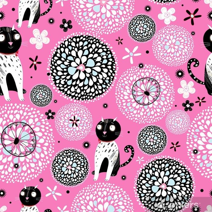 Papier peint vinyle Abstraite avec des chats - Mammifères