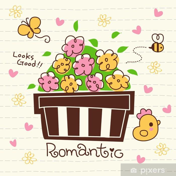 Vector Cute Romantic Flower Pot Poster - Home and Garden