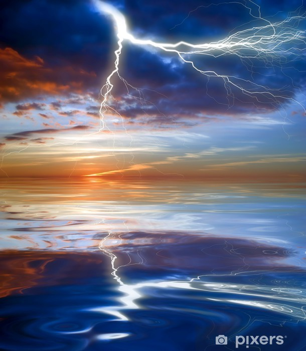 Vinyl-Fototapete Blitz über dem Meer - Naturkatastrophen