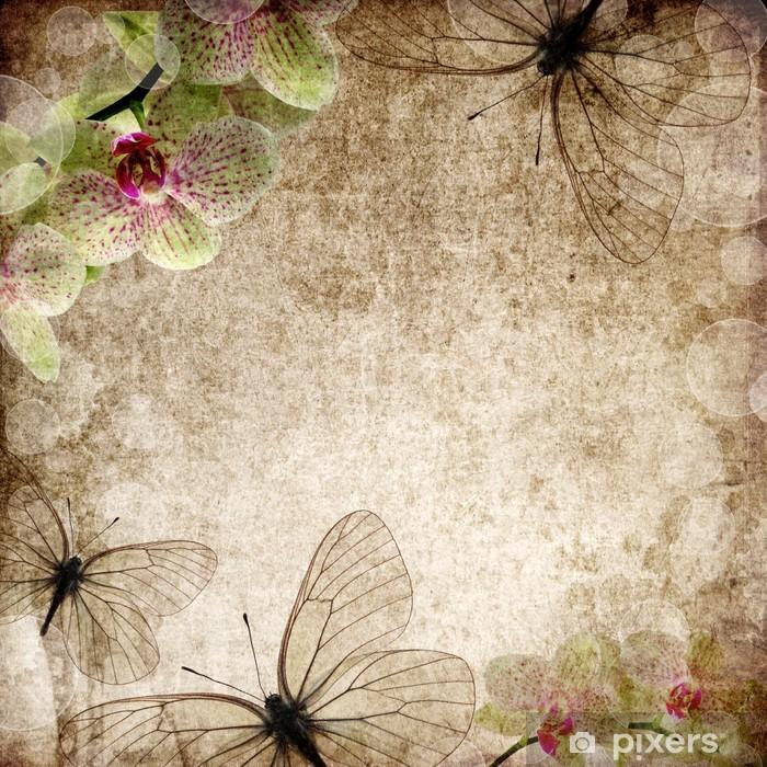 Plakát Vintage karta s orchidejemi a motýl - Pozadí