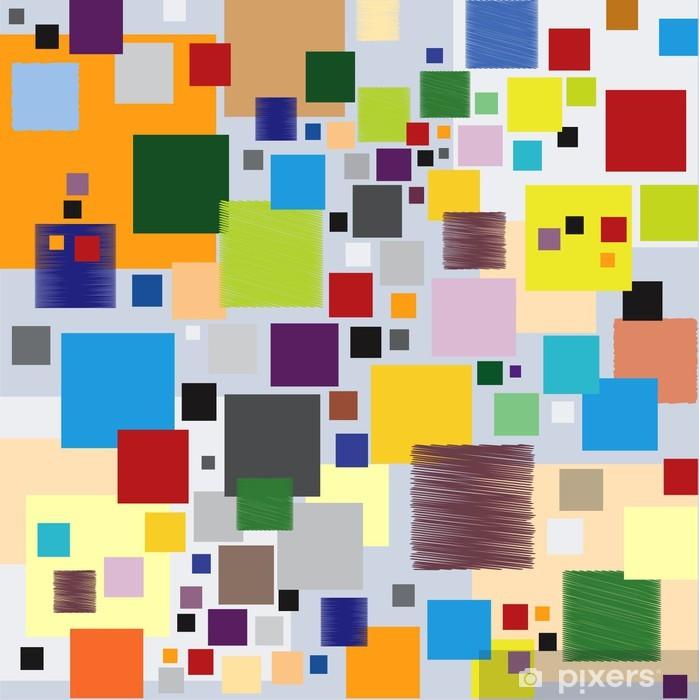 Motif Graphique Moderne aux Carrés Multicolores Poster -