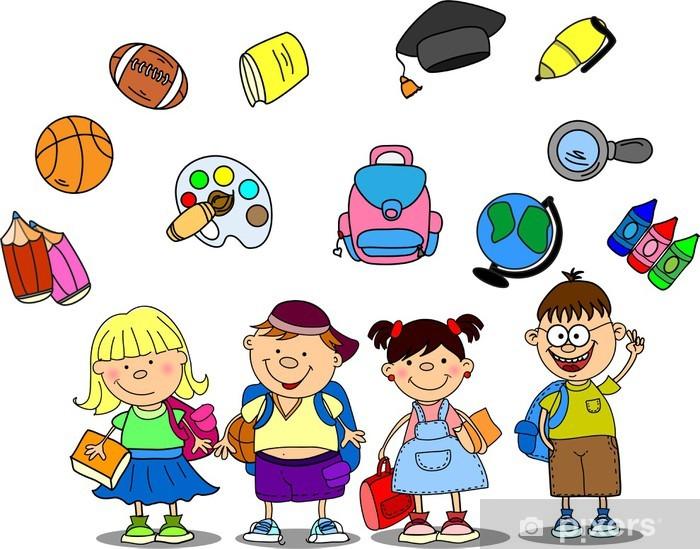 Scollare Carta Da Parati.Carta Da Parati In Vinile Scolari E Studentesse Carino Elementi Scolastiche