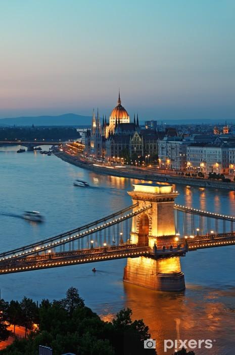 Budapest skyline at night, Hungary. Pixerstick Sticker - Themes