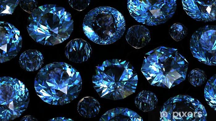 0cd6b27fccb588 Fototapeta winylowa Zestaw okrągłych szwajcarskich topaz niebieski. Kamień  szlachetny