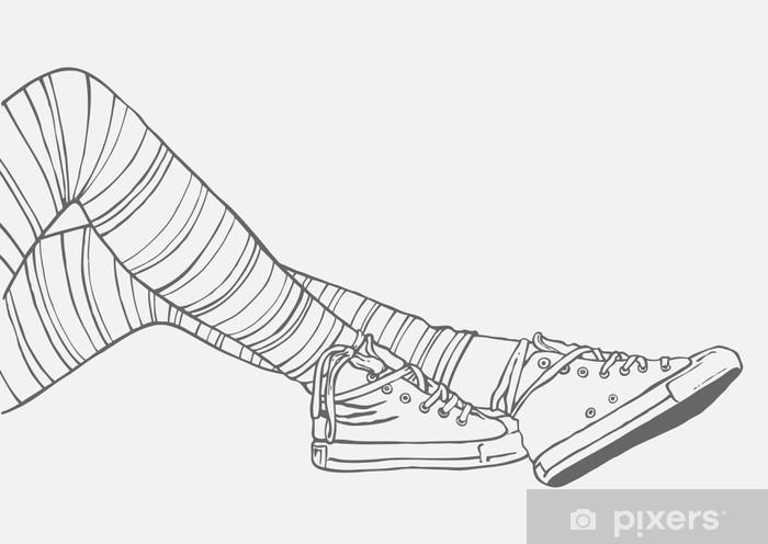 Fototapeta samoprzylepna Nogi kobiet w pasiastych pończochach i trampki - Moda