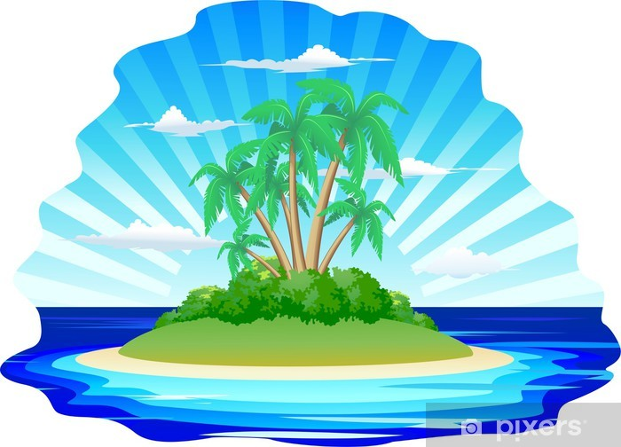 Sticker Pixerstick Isola Esotica-Johnston - Exotic Tropical Island - Vecteur - Vacances