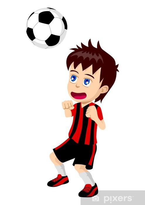 09616b10 Fototapet av vinyl Tegneserie illustrasjon av et barn som spiller fotball