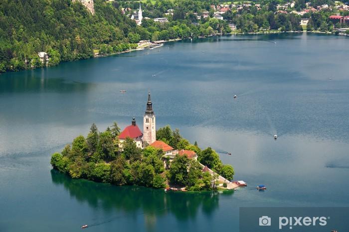 Carta da Parati in Vinile Vista della Chiesa di Santa Maria del Assumptionon a Bled - Europa