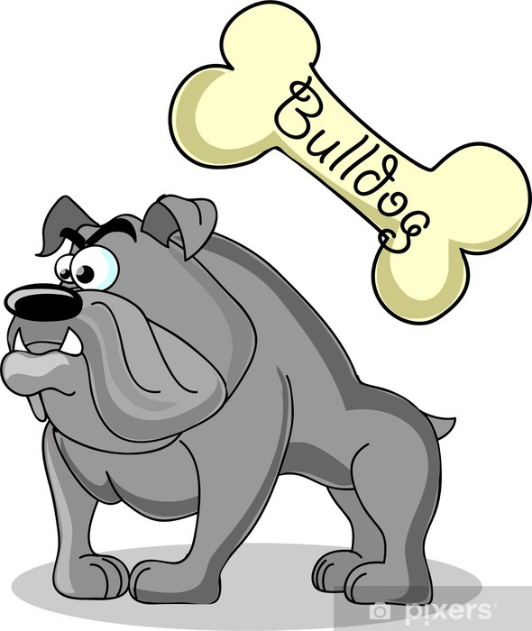 Sticker Pixerstick Мультфильм собака породы бульдог - Mammifères