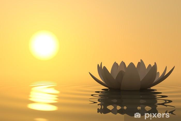 Sticker Pixerstick Zen fleur de lotus sur le coucher du soleil - Styles