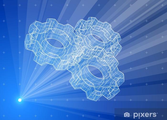 Fototapeta winylowa Gears. Blue promieniowe hologram technologia - Zbrodnie i przemoc