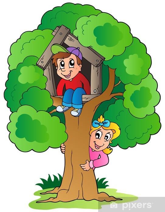 Vinilo Pixerstick árbol Con Dos Niños De Dibujos Animados Pixers