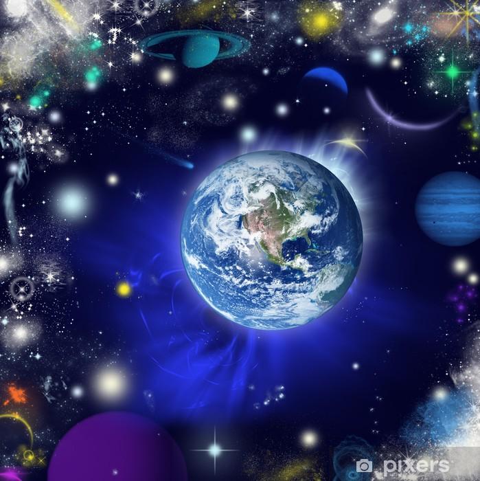 Papier peint vinyle La terre dans l'univers - Univers