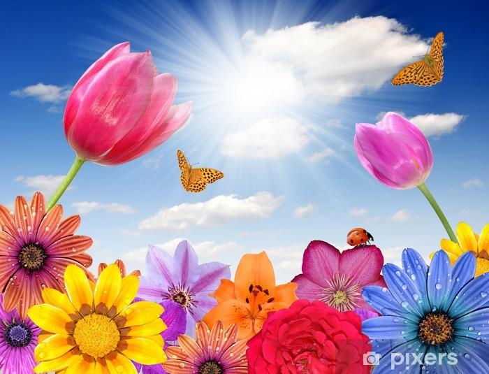 Papier peint vinyle Décorations en fleur au fond - Fleurs