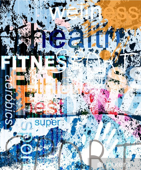Pixerstick Sticker FITNESS. Word Grunge collage op de achtergrond. - Achtergrond