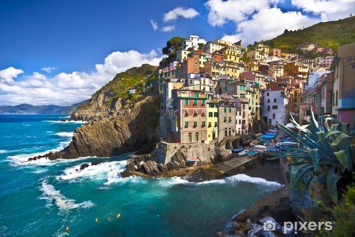 Riomaggiore fisherman village in Cinque Terre, Italy Pixerstick Sticker - Themes