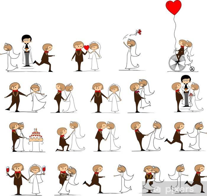 Naklejka Pixerstick Zestaw zdjęć ślubnych, panna młoda i pan młody w miłości, wektor - Pary