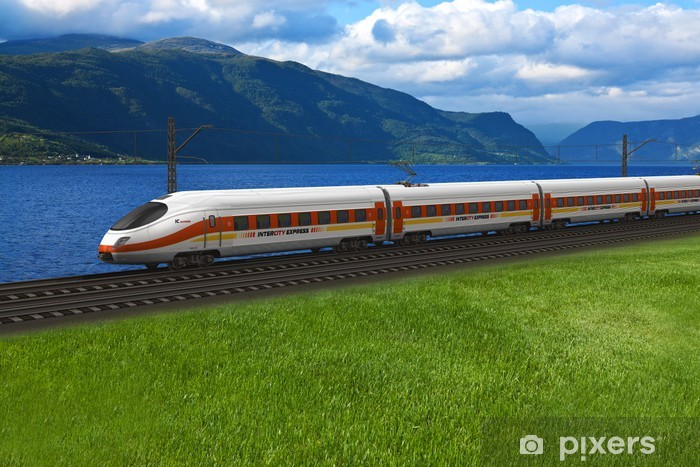 Fototapeta winylowa Wysoka prędkość pociągu przechodząc przez góry i flords - Tematy