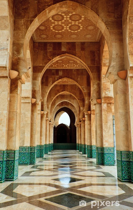Intricate marble and mosaic archway outside mosque Pixerstick Sticker - Themes