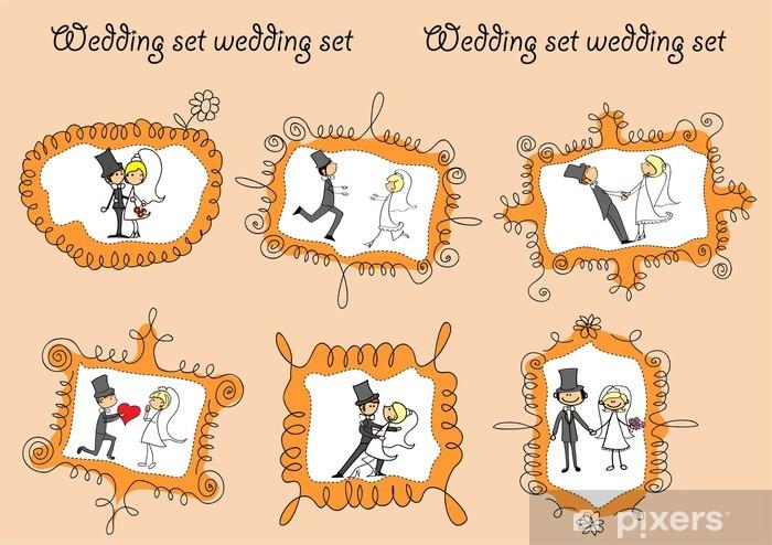 Fotomural Estándar Свадебные фотографии в каракули кадров - Felicidad