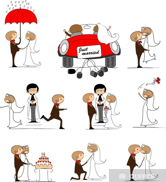 Papier peint vinyle Ensemble de photos de mariage, mariée et le marié dans l'amour, vecteur - Couples