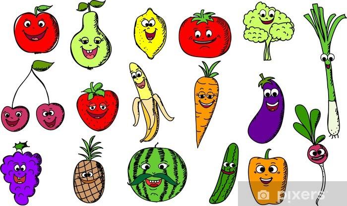 Fototapeta winylowa Ustaw Cartoon funny owoce - Posiłki