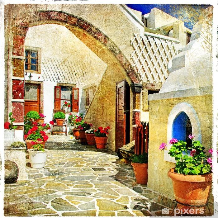 Vinil Duvar Resmi Santorini resimsel sokaklar -