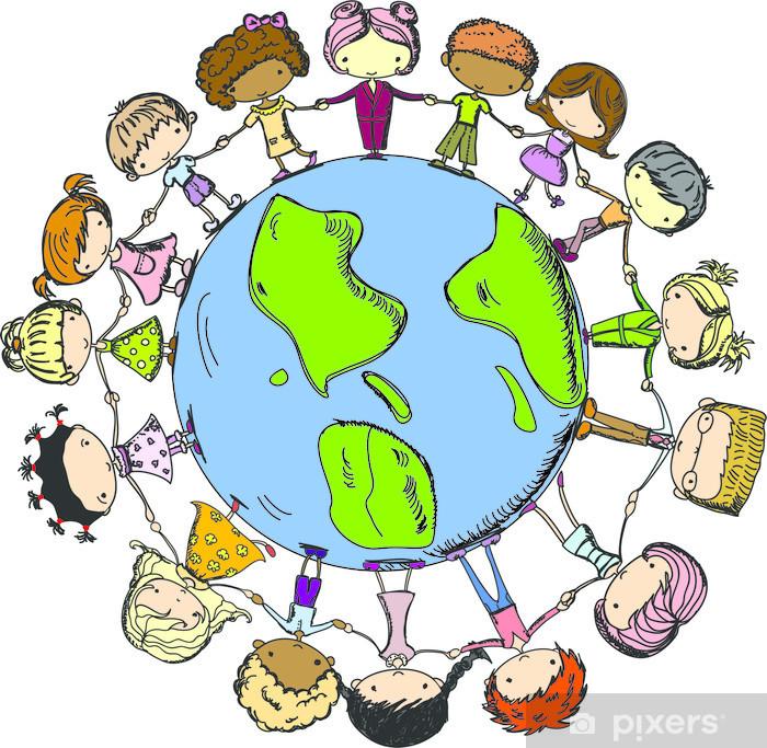 Naklejka Pixerstick Cartoon słodkie dzieci trzymając się za ręce na całym świecie - Dzieci