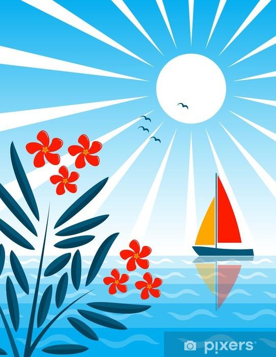 Nálepka Pixerstick Oleandr a moře - Prázdniny