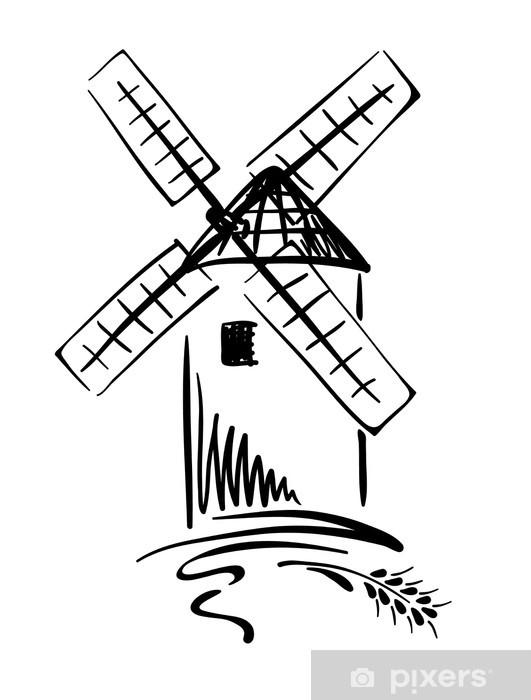 Sticker Pixerstick Illustration graphique - moulin à vent - Repas