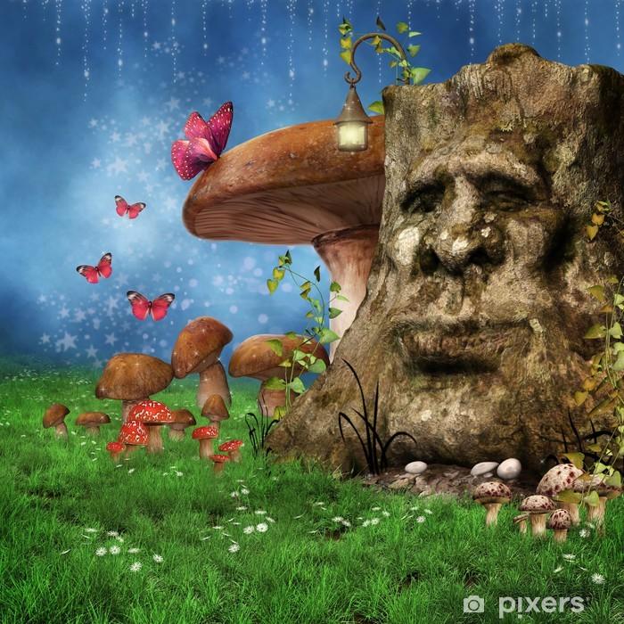 Poster Fée prairie avec un arbre enchanté, les champignons et les papillons - Saisons
