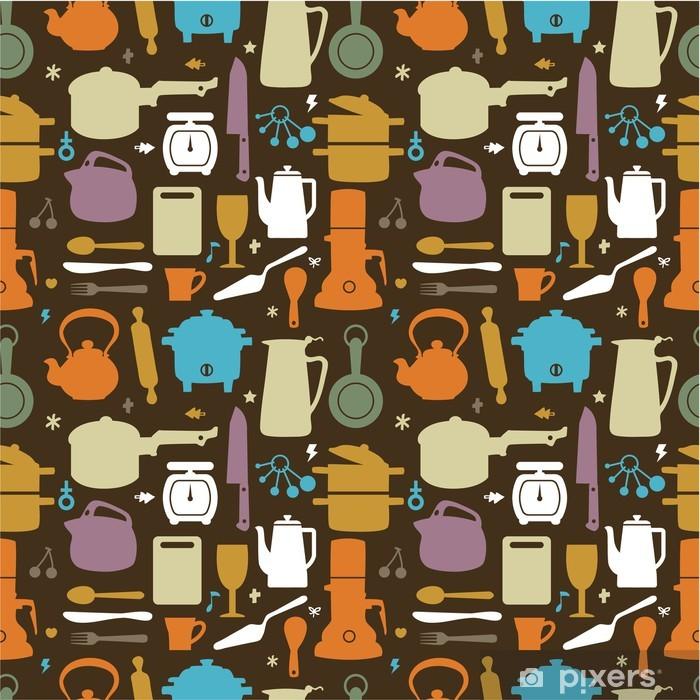 Carta da Parati in Vinile Cucina senza soluzione di modello, illustrazione vettoriale - Giochi
