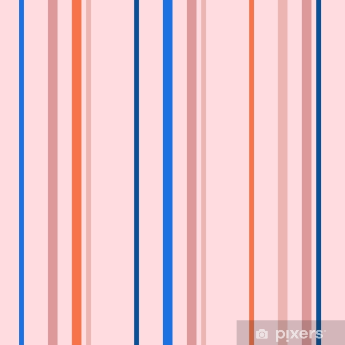Vertical stripes seamless pattern. Simple vector texture with thin and thick lines. Abstract geometric striped background in trendy bright colors, orange, blue, pink, peach. Stylish minimal design Pixerstick Sticker - Graphic Resources