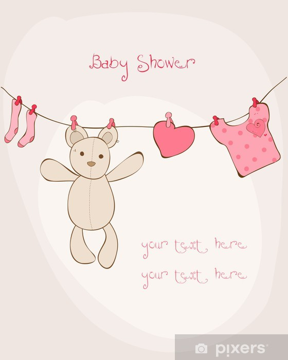 Baby Shower Karte Text.Baby Shower Card With Place For Your Text In Vector Sticker Pixerstick