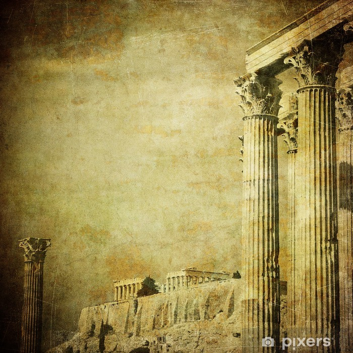 Fototapeta winylowa Vintage obraz greckie kolumny, Akropol, Ateny, Grecja - iStaging