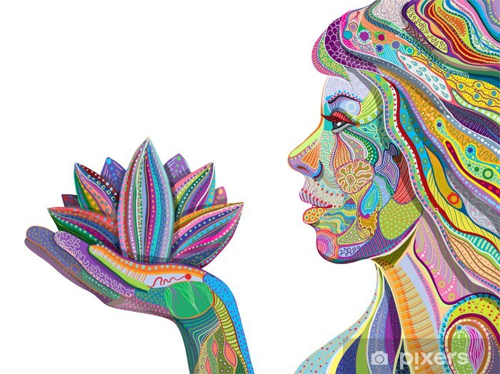 woman face with multicolored indian pattern holding lotus flower Pixerstick Sticker - Faces