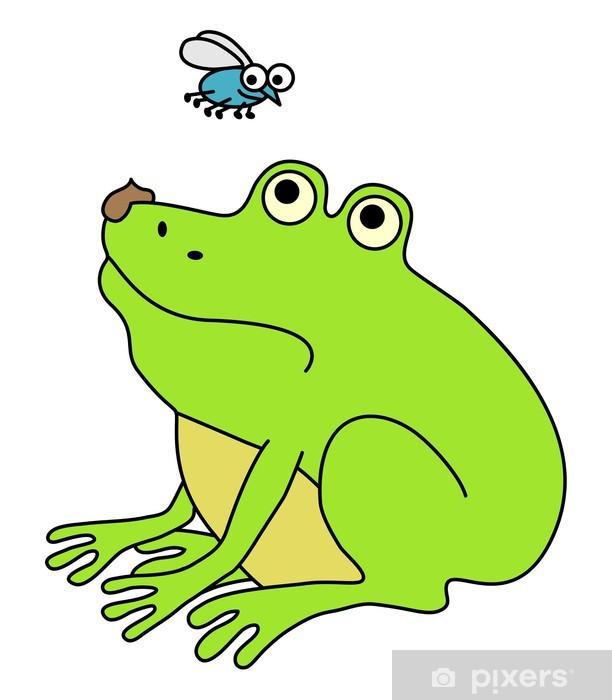 Naklejka Pixerstick Zdegustowany żaba tłuszczu, ilustracja zabawne kreskówki - Inne Inne
