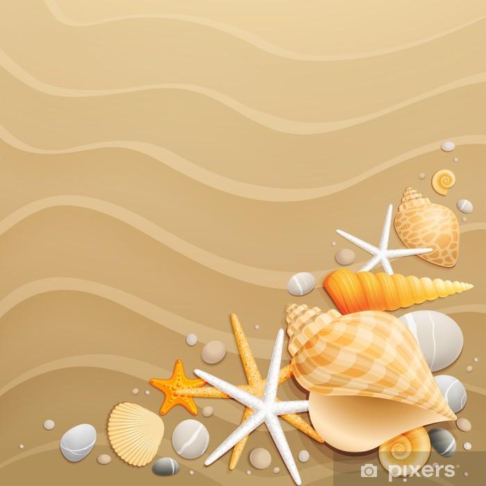Carta Da Parati Conchiglie E Stelle Marine Sulla Sabbia Sfondo