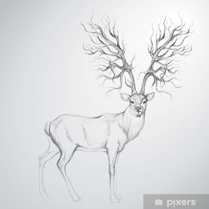 Fotomural Estándar Ciervos con la cornamenta como árbol / esbozo realista - Temas
