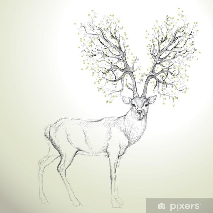 Pixerstick-klistremerke Hjort med Antler som tre / Realistisk skisse -